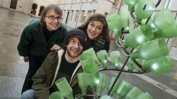Design students contrive Christmas tree out of recycled bottles