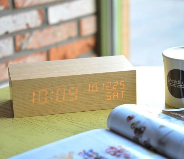LED clock in wooden block