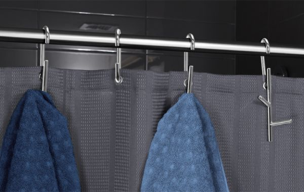 Branch shower curtain rings with hooks