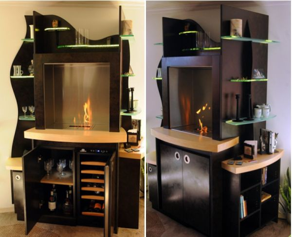 Built In Fireplace And A Wine Cooler, Wine Cooler Cabinet Furniture