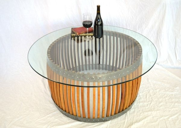 Coffee table made from wine barrel