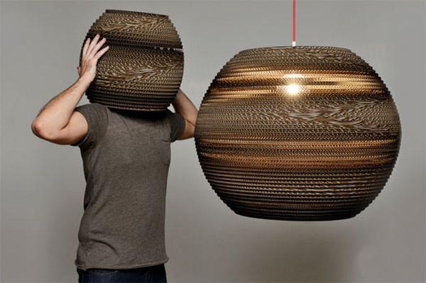 Altroprogetto studio's cardboard lamps