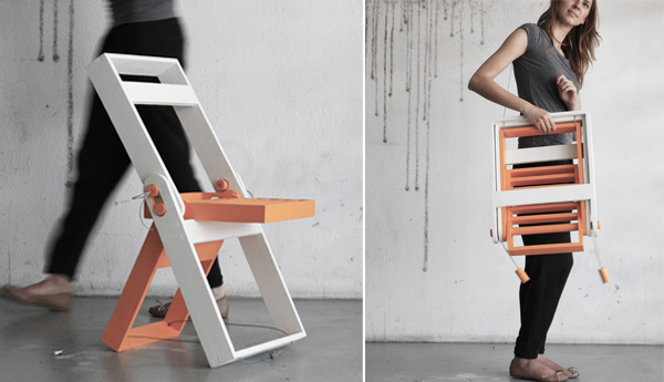 Wooden Folding chair by Pawel Kochanski