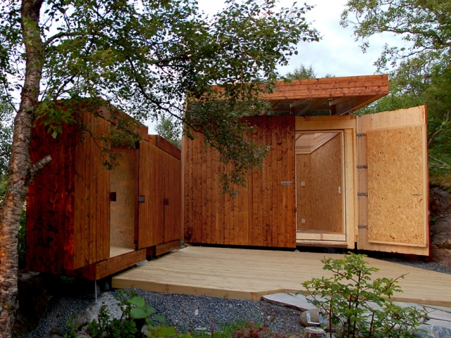 Wooden sheds with retractable roof, sliding doors