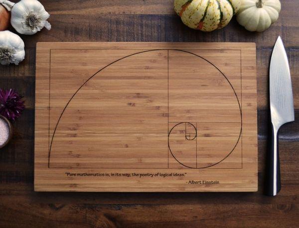 Fibonacci Spiral scientific cutting board