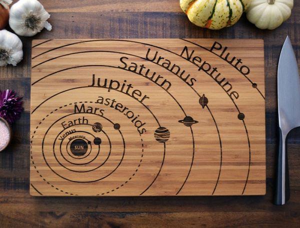 Solar System scientific cutting board