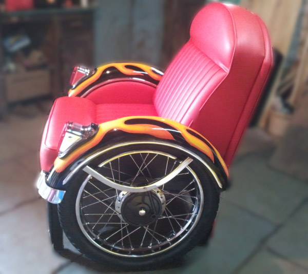 Sofa chair made from motorcycle parts