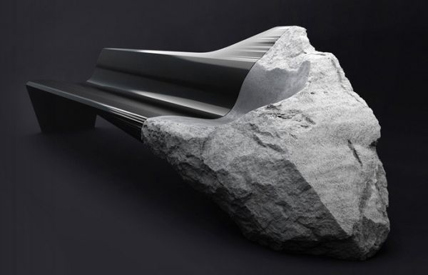 Sofa made from carbon fiber and volcanic lava stone