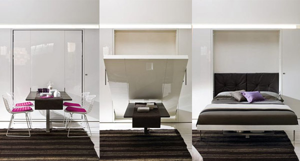 space-saving wall bed with dining table