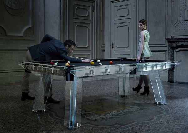 Glass billiards table by Adriano Design