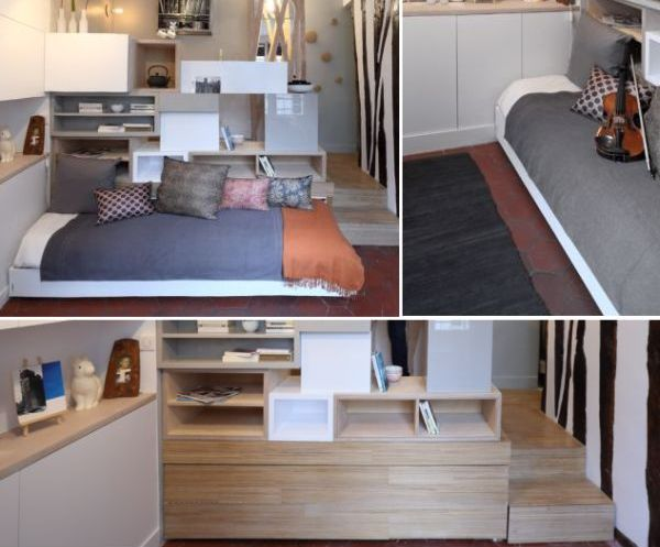 Julie Nabucet Designs 12 Square Meter Mini Apartment With A Disappearing Bed Homecrux
