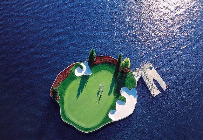 Floating Golf Course in Coeur d'Alene Resort