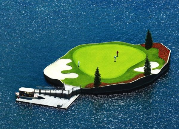 Floating Golf Course in Coeur d'Alene Resort