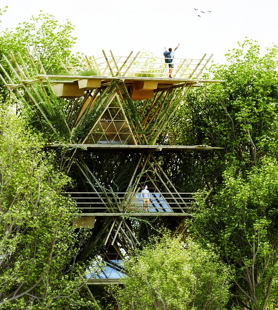 One With The Birds Bamboo Hotel by Penda