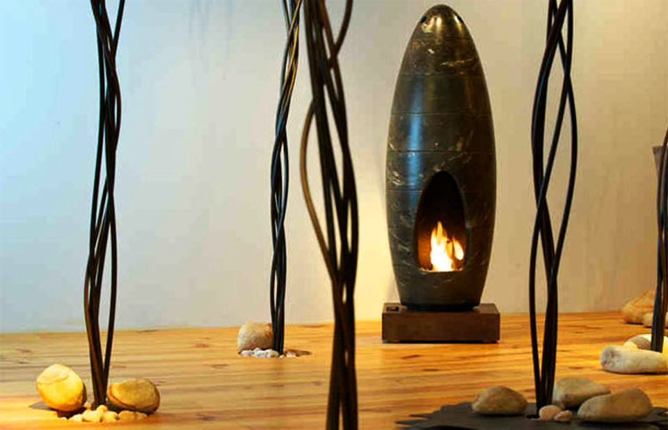 Cocoon-shaped Fireplace