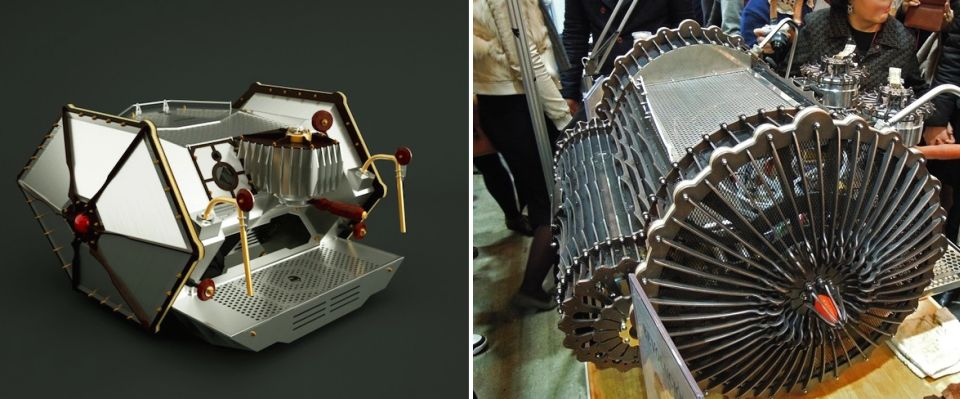Arduino-powered steampunk espresso machines by Vidastech