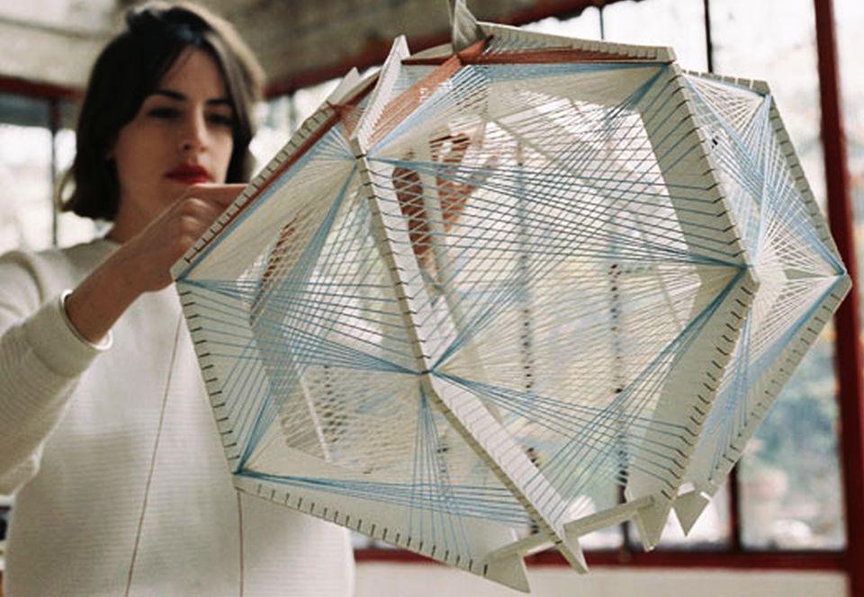 Handwoven Sputnik Lamps by Julie Lansom