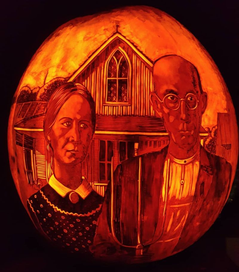 American Gothic painting on pumpkin by Edward Cabral