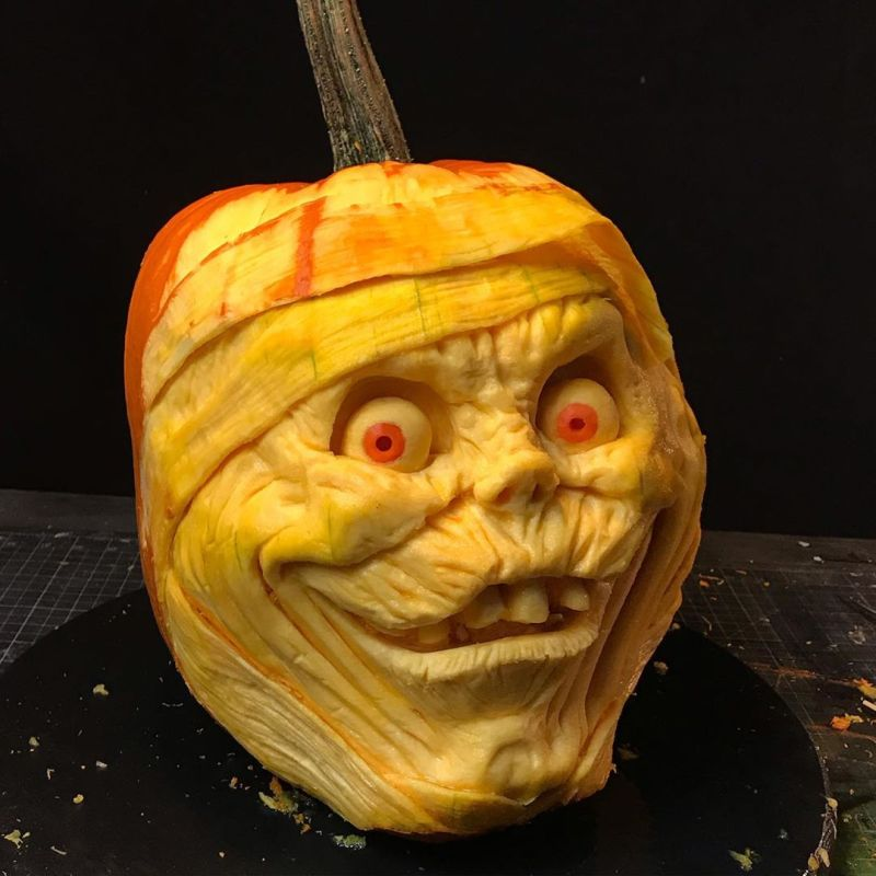 Cartoon face carved pumpkin by Jon Neill
