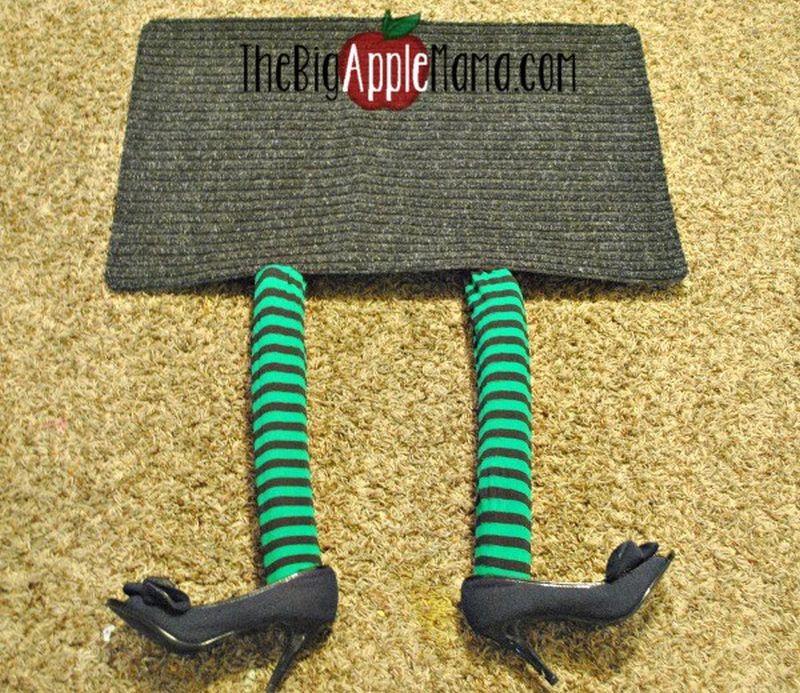 DIY witch doormat shoes