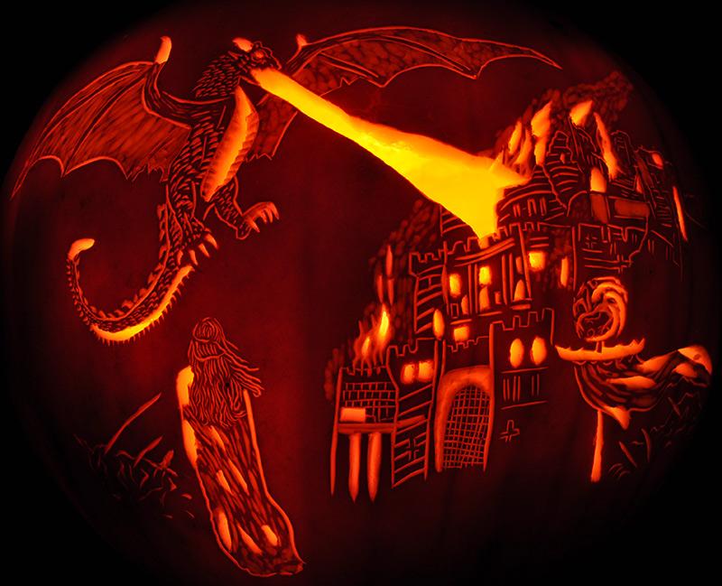 Dragon jack-o'-lantern by Fantasy Pumpkins