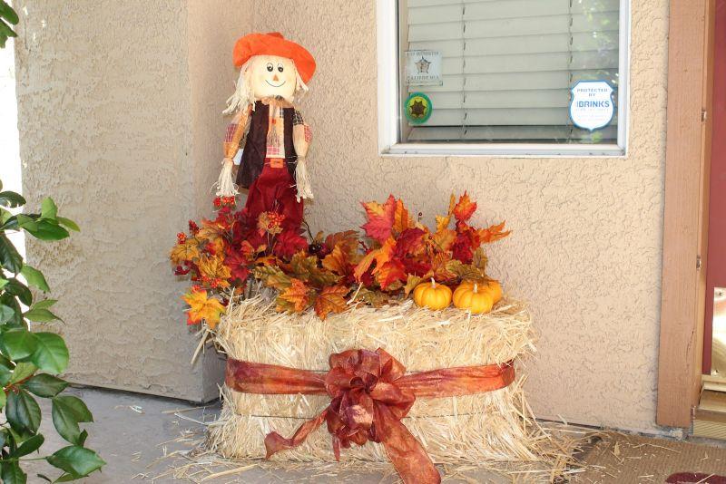 Floral decor front porch halloween