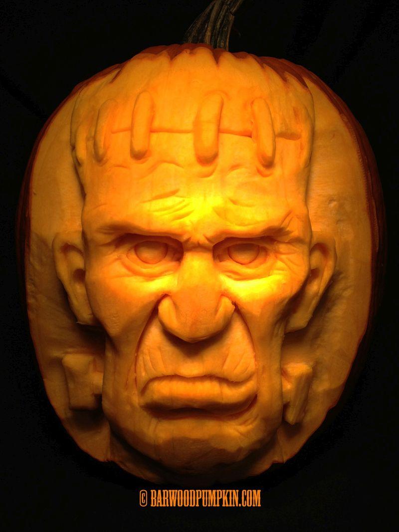 Frankenstein pumpkin carving by Jonathon Barwood