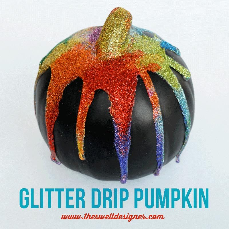 Glitter drip pumpkin for Halloween
