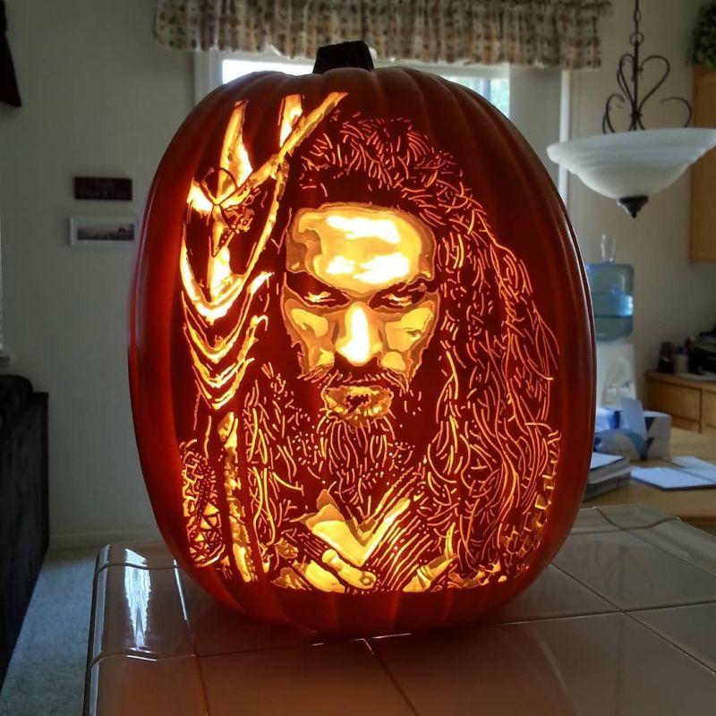 Jason Mamoa pumpkin art by Alex Ver of The Pumpkin Geek