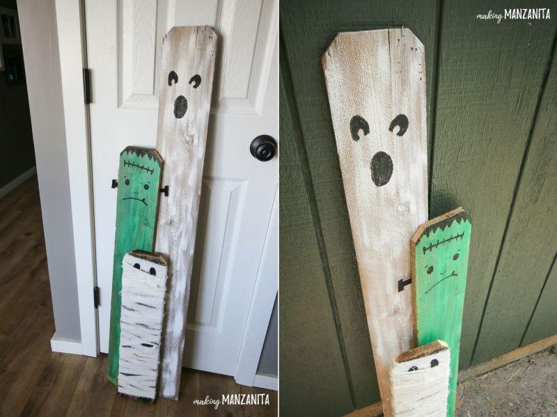 pallet wood Mummy Halloween front porch decor
