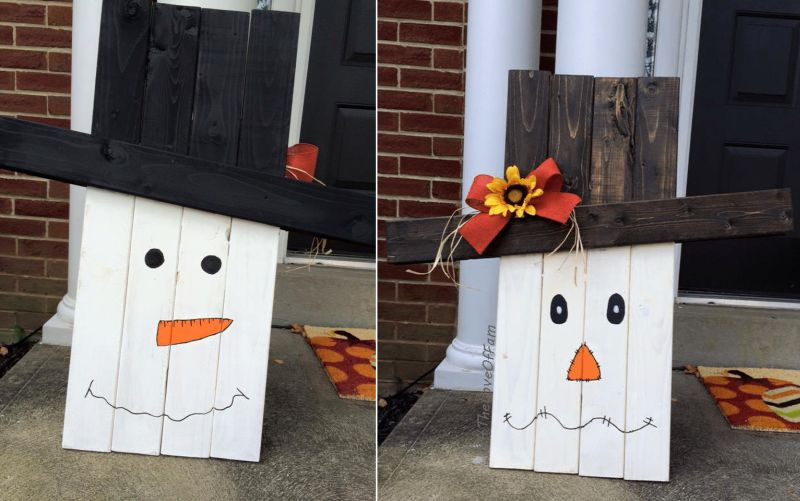 Pallet wood scarecrow for porch Halloween