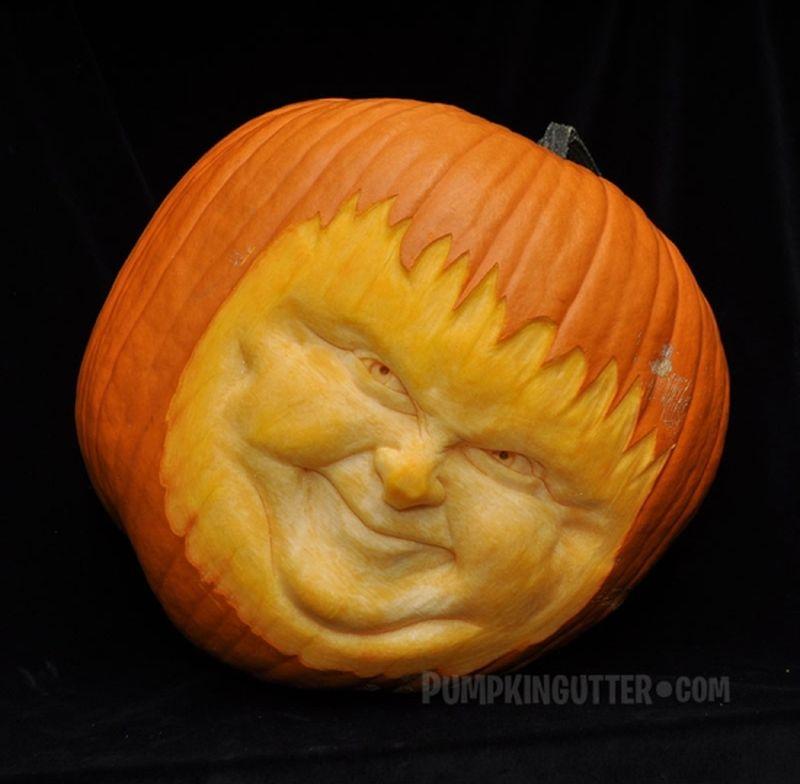 Pumpkin carvings by Scott Cummins of Pumpkin Gutter