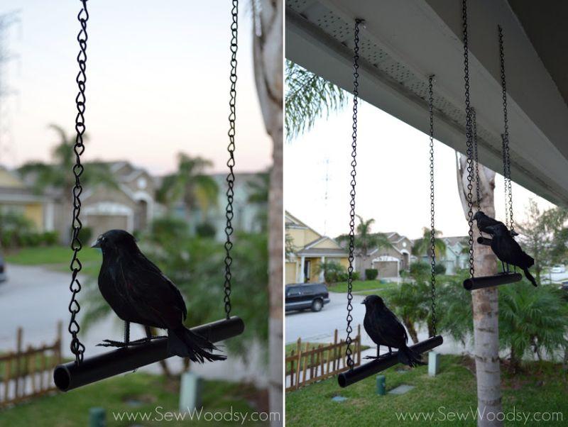 Hanging crows on front door