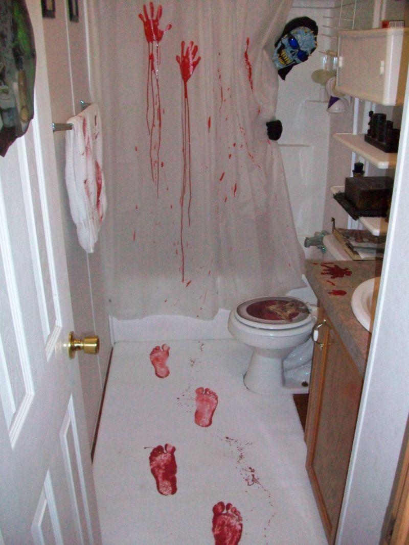 Setup bathroom like a scary murder scene for Halloween