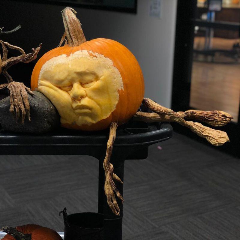 Sleeping pumpkin by Ray Villafane