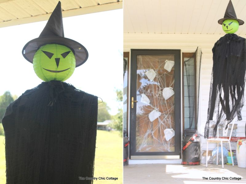 hanging ghost Halloween front porch decor