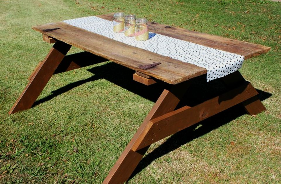 DIY Barn Picnic Table