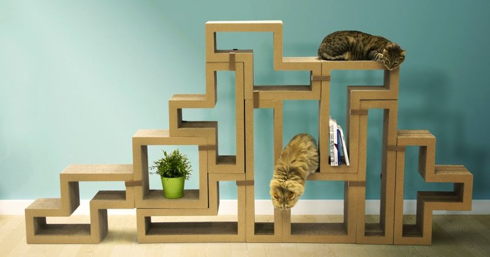 Katris Modular Cardboard Cat Furniture by Papercut Lab