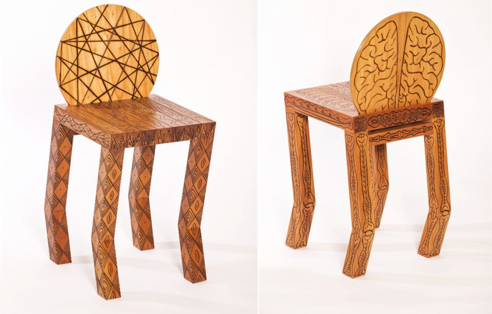 Pedro Barrail Wooden Stools with Enticing Tribal Tattoos