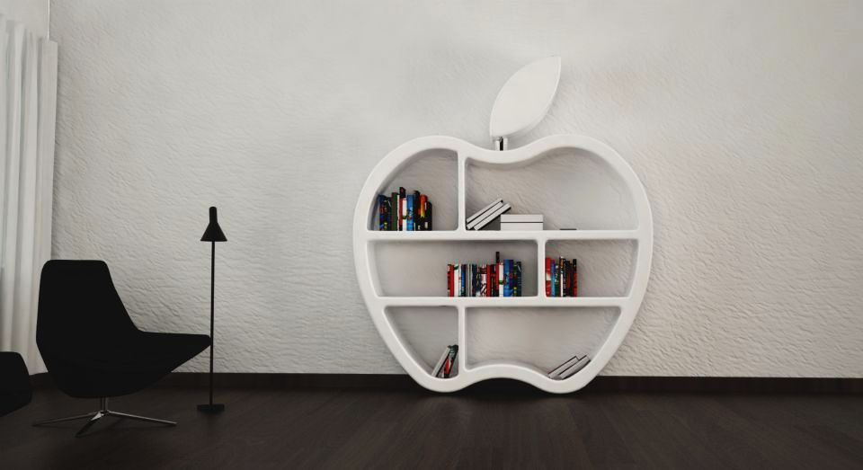 Gluttony Apple-Shaped Modular Bookcase by Mario Di Gesaro