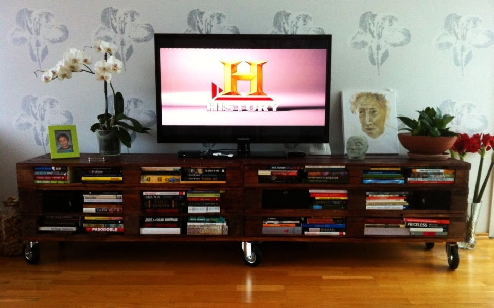 DIY TV stand doubles as elegant bookcase