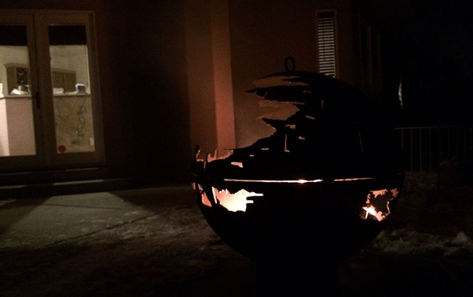 Death Star Fire Pit by 84-Year-Old Grandfather for Granddaughter