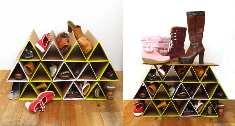 DIY Space-saving Cardboard Shoe Rack