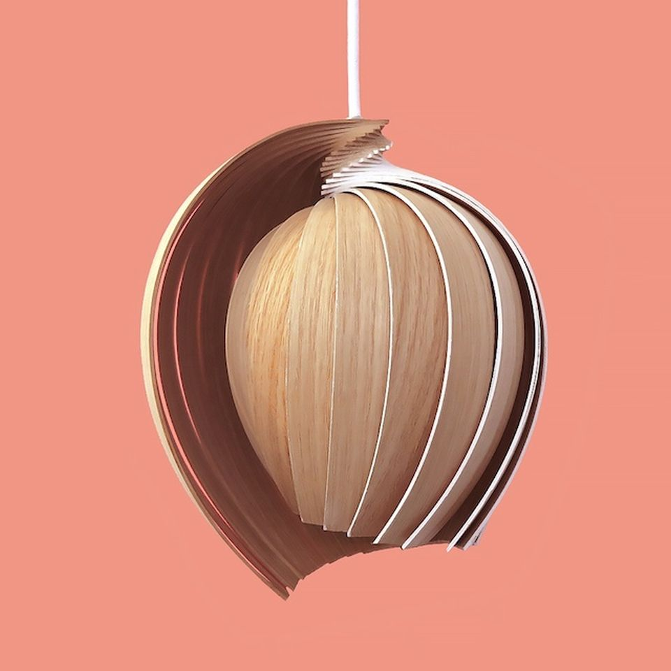 A 25 layered lamp made of oak wood.