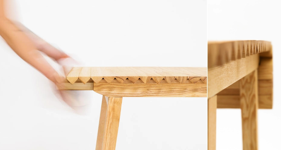 Wooden Cloth Dining Table by Nathalie Dackelid