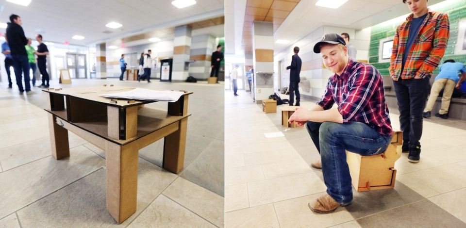 Engineering students build cardboard furniture for refugee camps