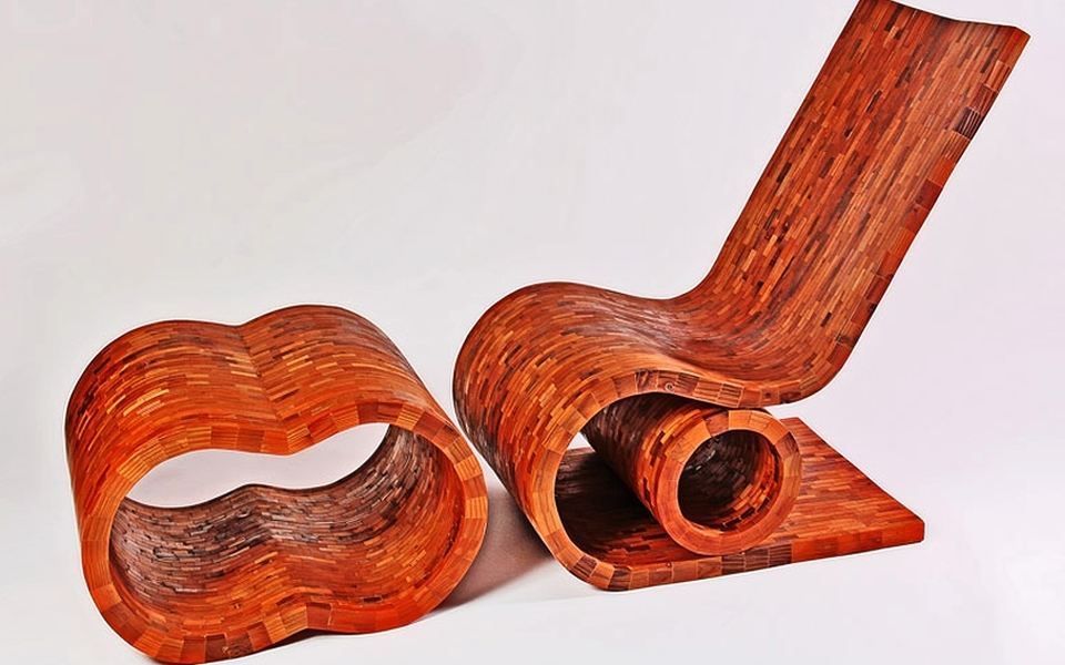 Nick Lopez contrives artistic furniture from reclaimed redwood fence