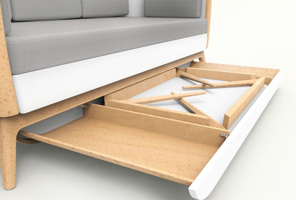 To store the table, or bed sheets, one can pull out the drawer under the sofa and fold the table legs before placing it inside.