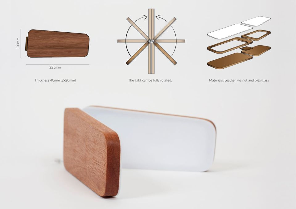 The lamp is made from walnut wood, leather and pixel glass