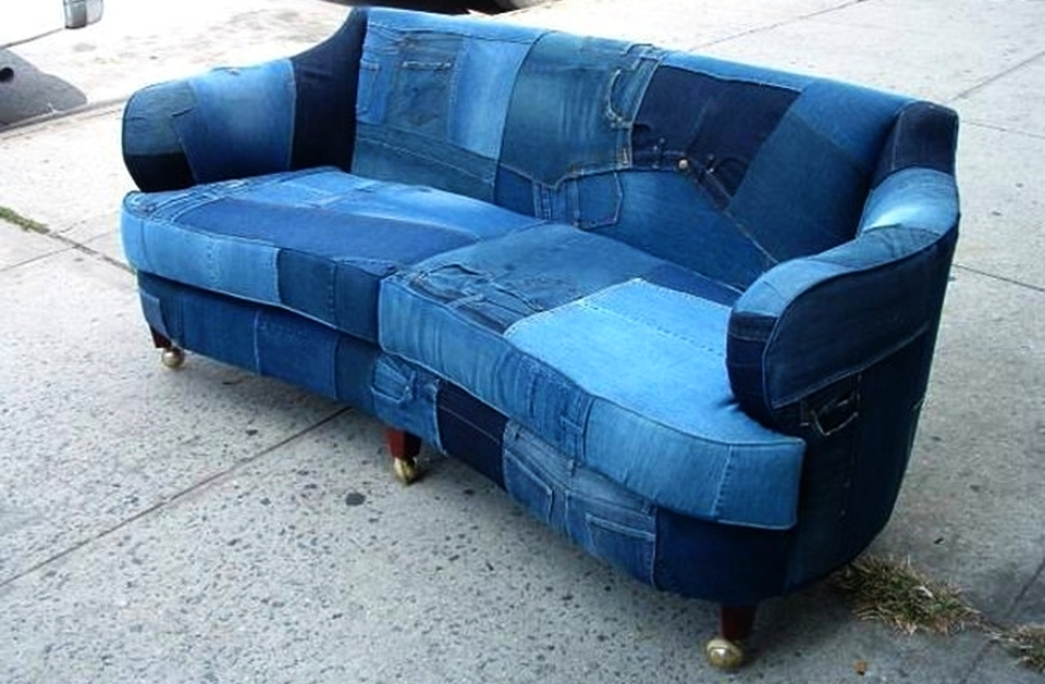 Upcycled denim sofa creates buzz on Craigslist
